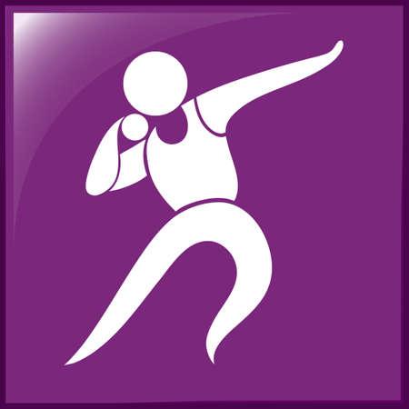 lanzamiento de bala: Icono del deporte para el lanzamiento de peso ilustraci�n