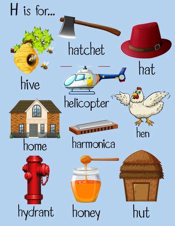 Viele Wörter für den Buchstaben H Abbildung