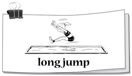salto de longitud: Mujer que hace la ilustración larga de salto Vectores