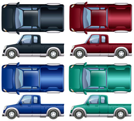 toy truck: Different color of pick up trucks illustration