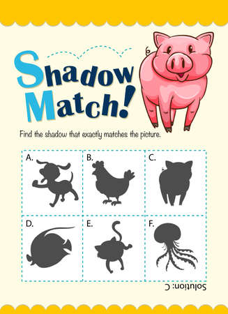 shadow: Game template with shadow matching pig illustration