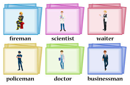 occupations: Vocabulary cards for occupations illustration