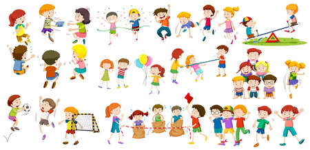 Boys and girls doing different activities illustration