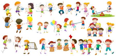 Los niños y niñas que realizan diferentes actividades de ilustración