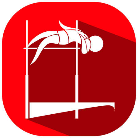 high jump: High jump icon on red background illustration