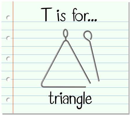 triangle musical instrument: Flashcard letter T is for triangle illustration Illustration
