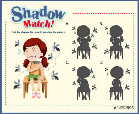 mosquitos: Shadow matching game template with girls and mosquitos illustration
