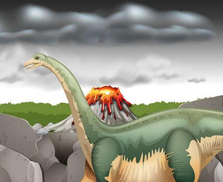 erupting volcano: Scene with dinosaur and volcano illustration