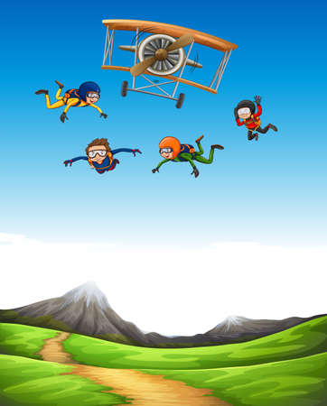parachute jump: Four people doing sky diving illustration