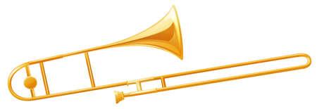 woodwind: Golden trumbone on white background illustration
