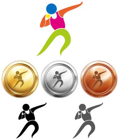 lanzamiento de bala: Icono del deporte para el lanzamiento de peso y medallas de la ilustración