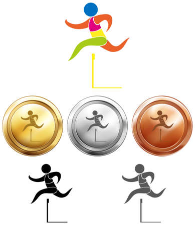 medals: Hurdle running icon and sport medals illustration Illustration
