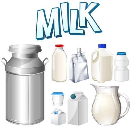 Conjunto de leche fresca en diferentes contenedores ilustración