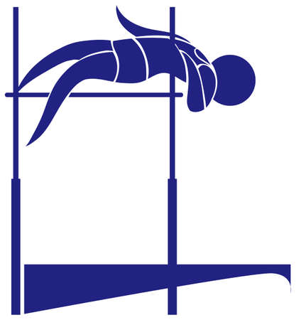 high jump: High jump icon in blue color illustration