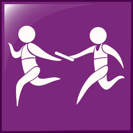 relay: Relay running icon on purple background illustration