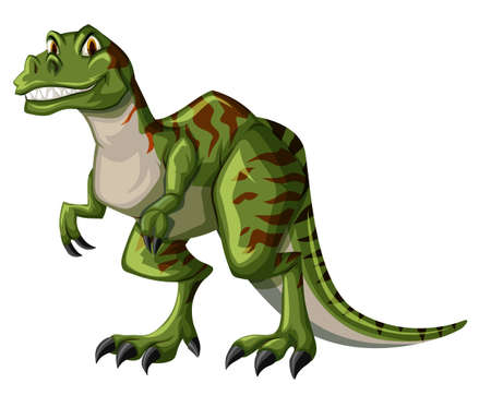 tyrannosaurus rex: tyrannosaurus rex verde sobre fondo blanco ilustración