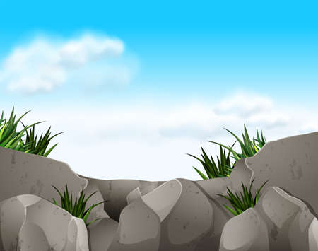 cliffs: Nature scene with rocks and sky illustration