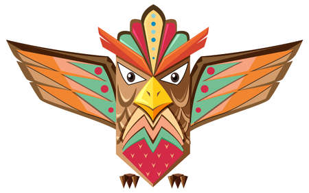 Totem pole shaped of an owl illustration