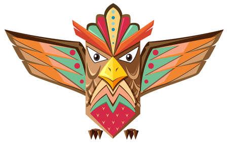 Totempaal vorm van een uil illustratie