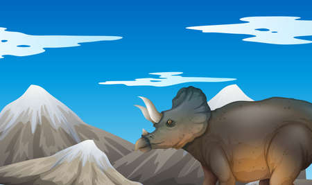 sauropod: Scene with dinosaur and mountains illustration