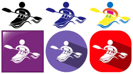 kayaking: Kayaking icon in many designs illustration