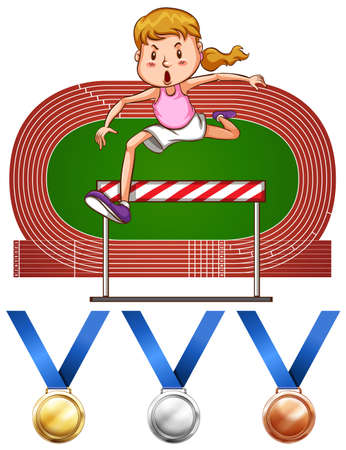 hurdles: Girl doing hurdles run and medals illustration