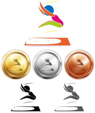 salto largo: salto y medallas del deporte ilustración larga