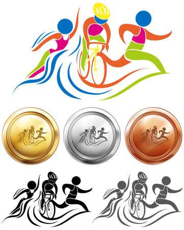 icono de triatlón y medallas del deporte ilustración