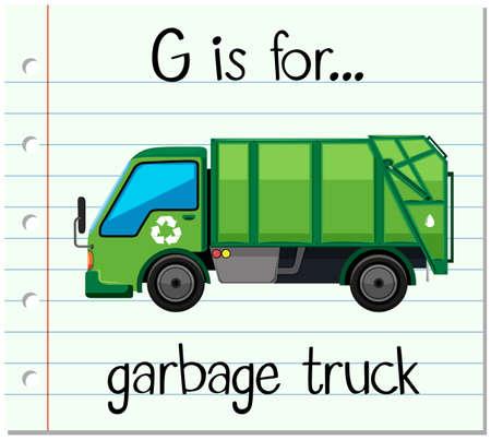 lettre de Flashcard G est pour camion à ordures illustration