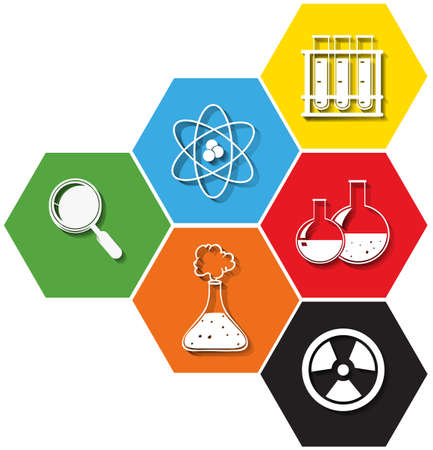 science symbols: Science symbols on hexagon background illustration Illustration