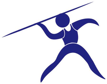 lanzamiento de jabalina: icono jabalina en la ilustración de color azul