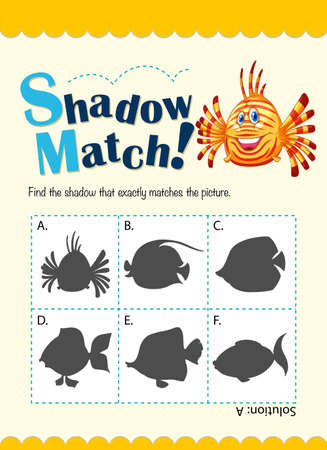 matching: Shadow matching game with fish illustration Illustration