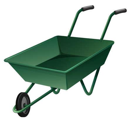 wheelbarrow: Wheelbarrow in green color illustration Illustration