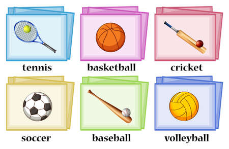 flash card: Vocabulary cards for sport equipments illustration Illustration