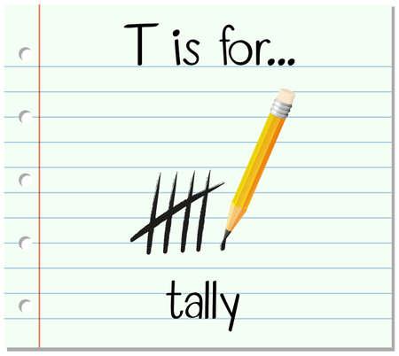 Flashcard letter T is for tally illustration Illustration