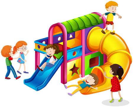 slide: Children playing on slide at playground illustration Illustration