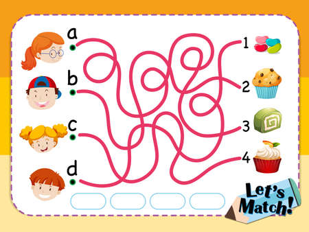 jellybean: Matching game template with kids and desserts illustration