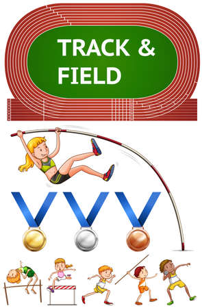 sports track: Track and field sports and sport medals illustration Illustration
