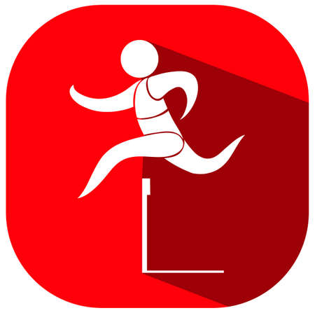 hurdles: Hurdles running icon on red background illustration