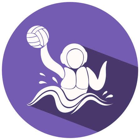 water polo: icono de waterpolo en la ilustración redonda de placas Vectores