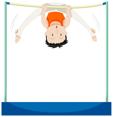 and the horizontal man: Man doing gymnastics on horizontal bar illustration Illustration