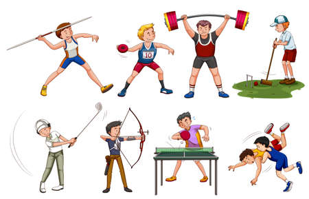 many: People doing many sports illustration