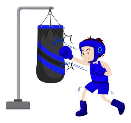 Boxer punching on punching bag illustration
