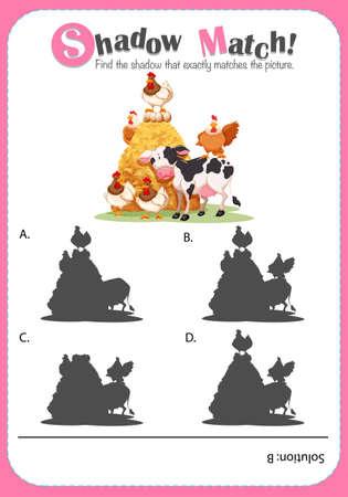 matching: Matching game templat with farm animals illustration