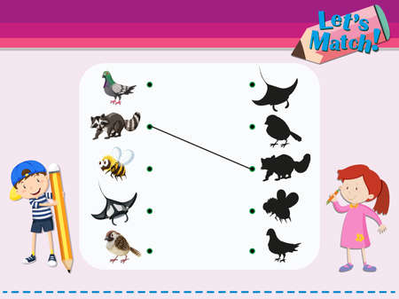 child's: Matching game template with animals illustration Illustration