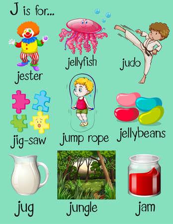 flash card: Many words begin with letter J illustration