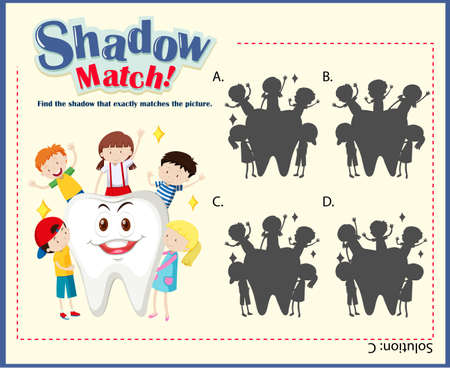 matching: Game template with matching kids and tooth illustration Illustration