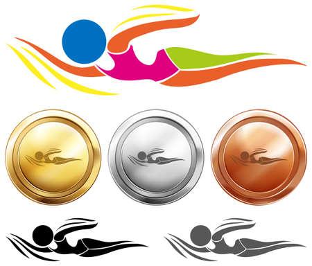 Zwemmen icoon en drie medailles illustratie Vector Illustratie