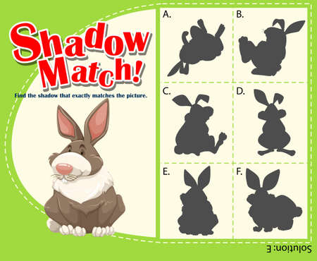 matching: Game template with matching rabbit illustration Illustration