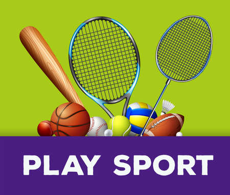 sports equipment: Sports equipment on green background illustration Illustration
